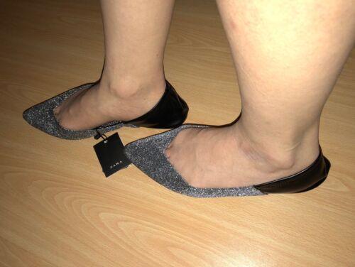 ballerines noires Zara contrastantes Uk brillantes noires Chaussures taille Bnwt de 7 wrY4q1EY
