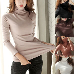 Women-Solid-Turtle-Neck-Long-Sleeve-Stretchy-Slim-Pullover-Shirts-Tops-Sweaters