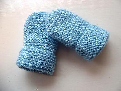 Baby Hand Knitted Guanti, Blu Chiaro, Acrilico, 6-12 Mesi Nuovo-mostra Il Titolo Originale