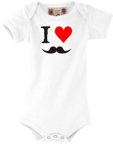 Baby Body lustige I LOVE Mustache Moustache Bart 0-18 Monate