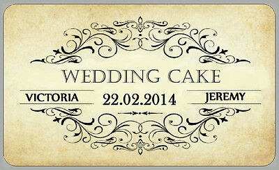 21 x VINTAGE STYLE LABELS WEDDING CAKE STICKERS CLASSY FOR PERSONALISED GIFTS