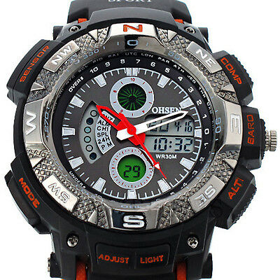 Digital OHSEN Waterproof LCD Sport Alarm Date Mens Military Unisex Rubber Watch