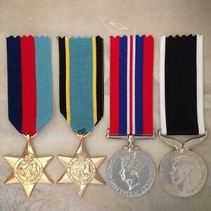 WWII AIR CREW EUROPE STAR + NZ WAR SERVICE MEDAL SET | WORLD WAR TWO | GOLD TON
