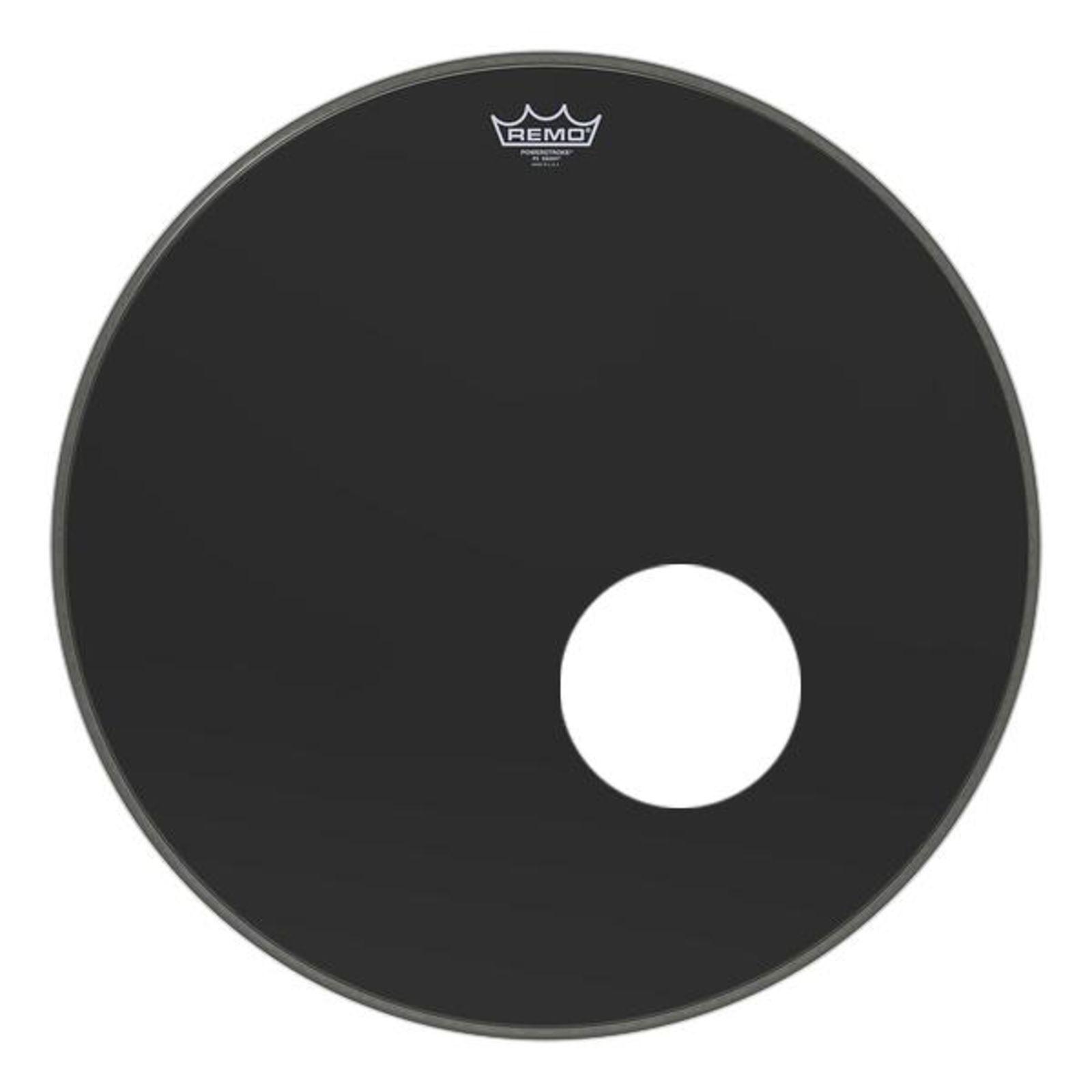 Schwarzes REMO 22  Powerstroke P3 Ebony Bass Drum Fell mit 5  Loch & Dynamo Ring