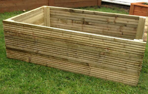 Tanalised decking raised bed garden planter 1200x900x360mm for Decking at end of garden