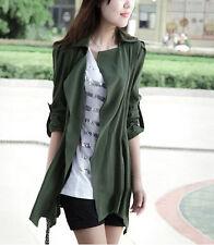 Womens Korean Fashion Wild Jacket Sleeve Reflexed Green Coat Casual Trench New
