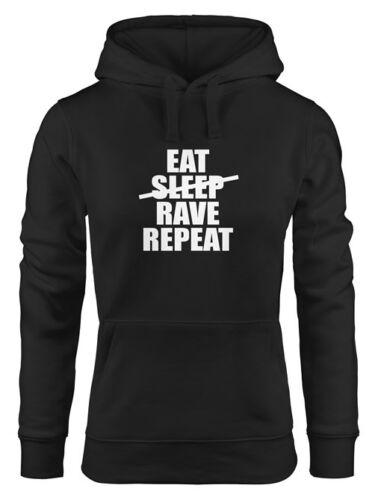 Hoodie Donna Eat Sleep Rave Repeat TECHNO Con Cappuccio Pullover moonworks ®