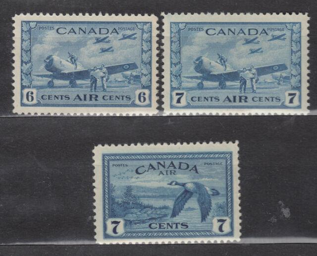 1942-46 #C7 6¢ #C8 6¢ & #C9 7¢ KING GEORGE VI AIR MAIL ISSUES F-VFNH