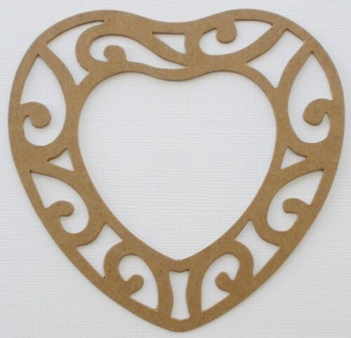 """4.5/"""" inch {3} *HEART FiLiGREE FRAME* Picture Frames Chipboard Die Cuts"""