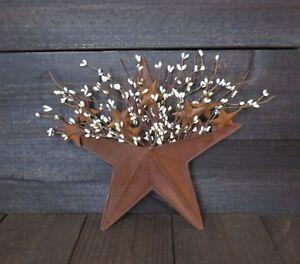 Primitive Country Rusty Wall Pocket w/ Cream Pip Berry & Mini Barn Rusted Stars