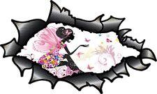 LRG  Carbon Fibre Fiber Ripped Torn Metal Fairy Princess & Butterfly car sticker