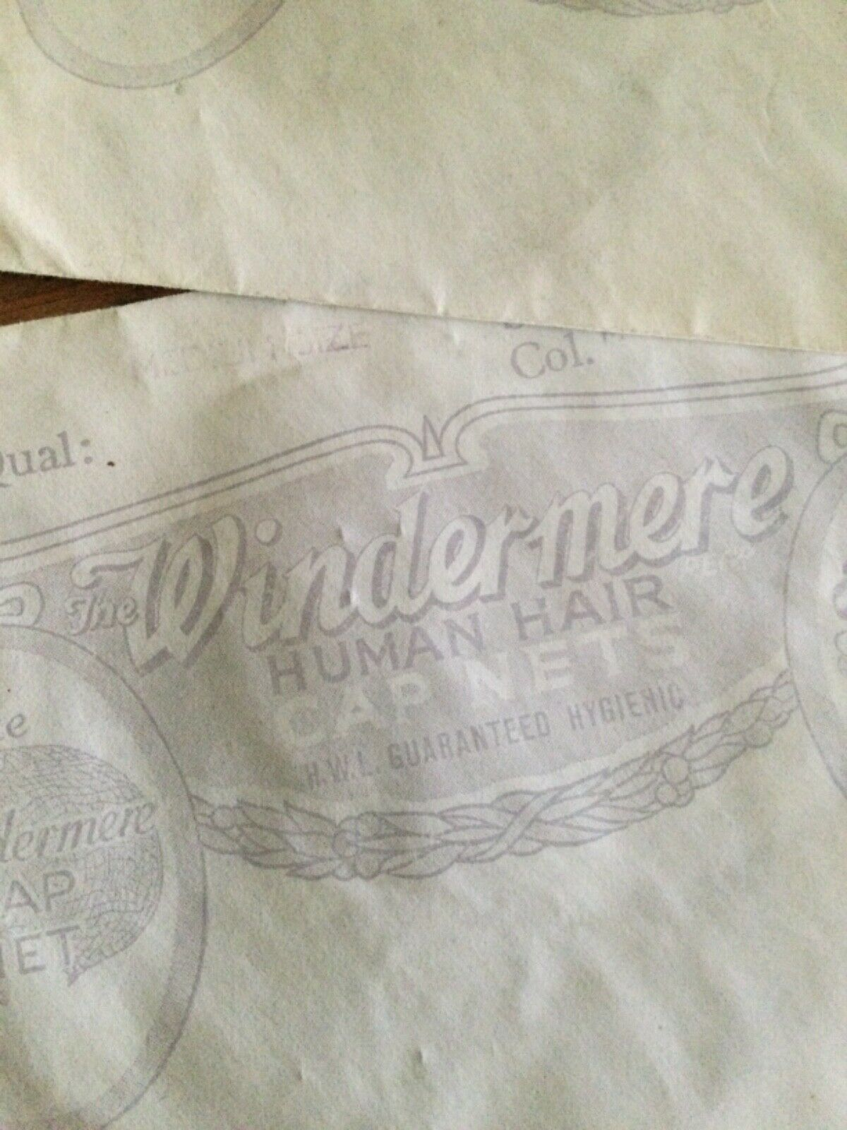 1930 vintage Windermere real hair ,hairnet medium size,mid brown x2 collectible.