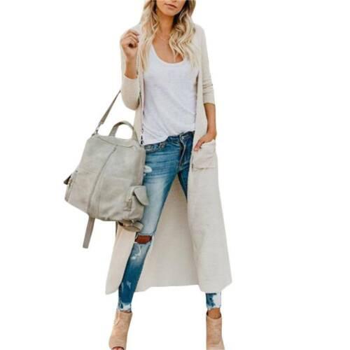 Women Knitted Maxi Cardigan Coat Open Front Sweater Long Sleeve Outwear Jacket
