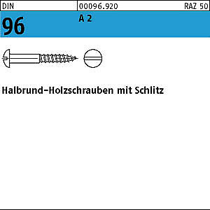 200 Edelstahl V2A Halbrundkopf Holzschrauben DIN 96 A2 2,5x12