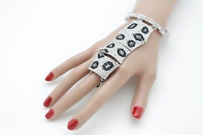 Women Bracelet Fashion Silver Metal Hand Chain Slave Ring Leopard Tiger Jewelry