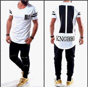 Designer-Oversize-T-Shirt-Noir-Blanc-Hommes-Longtee-Clubwear-Slim-manches-courtes-NOUVEAU