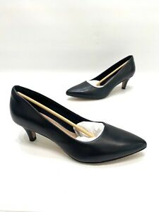 Clarks-Collection-Womens-Black-Leather-Classic-Heels-Size-7-5-M-NWOB