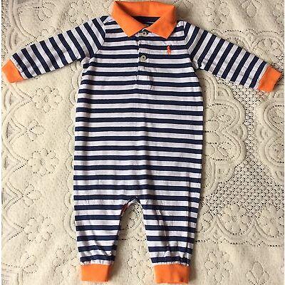 New Baby Boys Ralph Lauren Long Sleeves Body Suit/Romper 3M