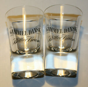 Gammel Dansk Bitter Dram Liquor Denmark Shot Glasses set of 2 glasses