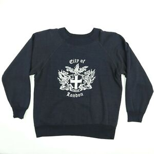 Vtg-60s-City-of-London-Raglan-Sweatshirt-S-M-Faded-Black-Worn-Thin-Distress