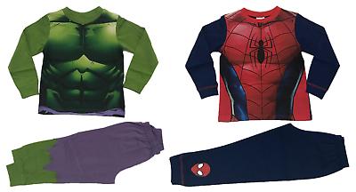 Boys Official Marvel Comics The Hulk Spider-Man Pyjamas Pajamas Nightwear PJs