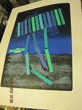 80's MENASHE KADISHMAN Palm Silkscreen in Blue * S/N