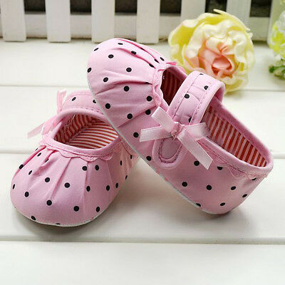 Toddler Baby Girl Pink Polka Dot Soft Sole Crib Shoes Prewalker 0-12 months