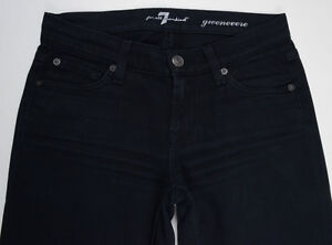 EUC-Womens-Stunning-7-For-All-Mankind-039-GWENEVERE-039-Black-Jeans-Size-W24-L30