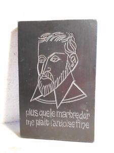 Ancien Presse Papier Marbre GravÉ Portrait PoÈte Du Bellay Heureux Comme Ulysse