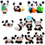 12 Pcs Cute Pandas Toys Figurines Playset Cake Decoration 1 Set