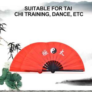 14-8-034-Tai-Chi-Martial-Arts-Kung-Fu-Bamboo-Fan-Red-Dance-Pratice-Folding-Peony-GS