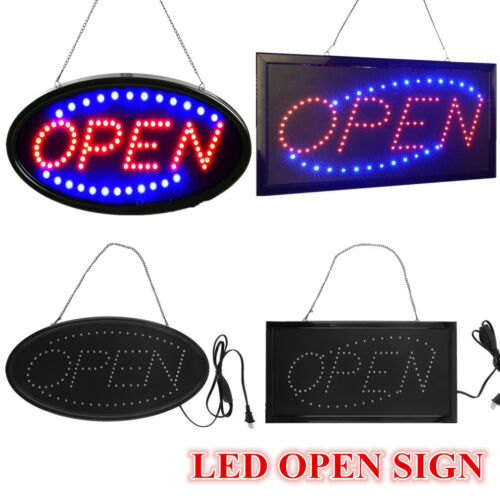 Ultra Bright Led Neon Light OVAL OPEN w// Motion Animation ON//OFF switch Sign REO