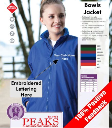 FREE Embroidered Lettering Added Mens Ladies Bowls Jacket Fleece Lined Nylon