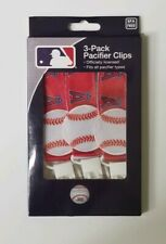 Chicago Cubs 3pc Premium Pacifier Paci Clip Set Infant Baby Unisex NWT MLB