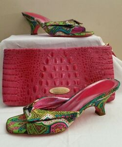 Debi-Rodi-silk-heels-sz-8M-fit-like-a-sz-7-made-in-Italy-green-blue-hot-pink