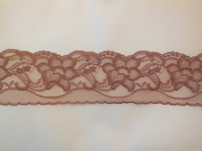 A Chocolate brown Embroidered English Floral lace trim.Clothes DIY.Sold by meter