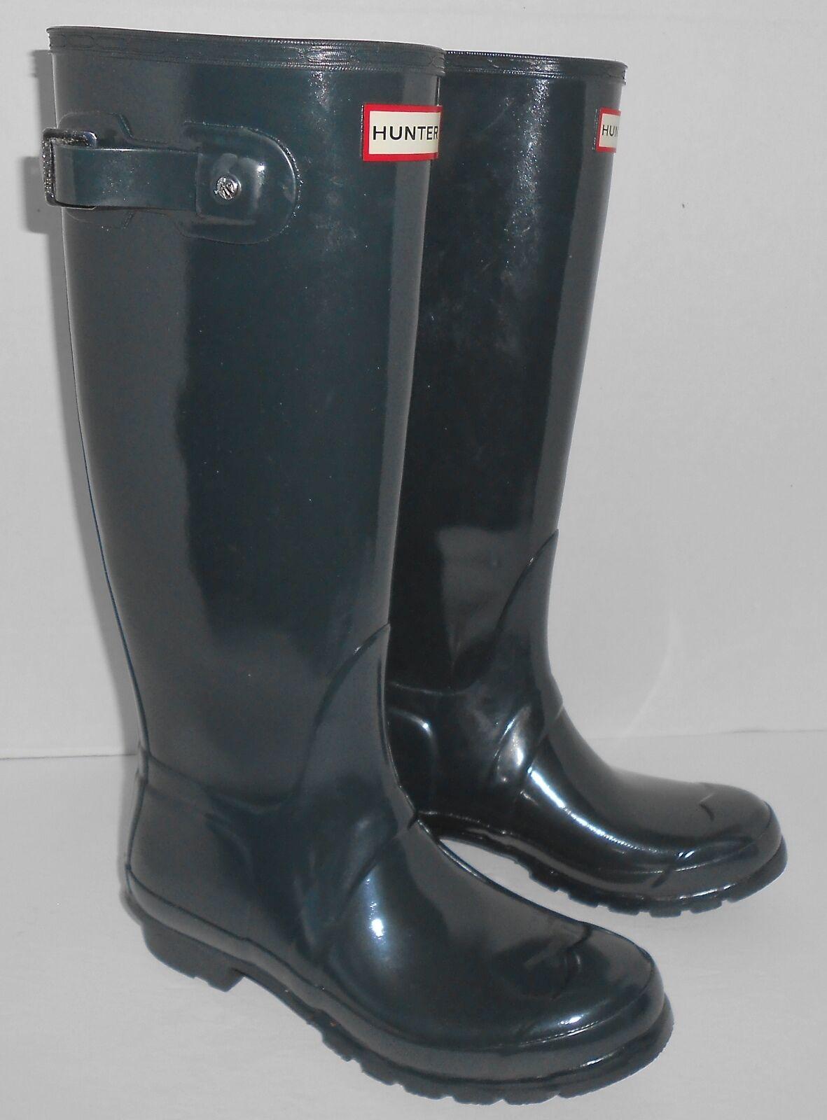 Hunter Women's Original Tall Glossy Rain Boots color Graphite Gloss Sz 7