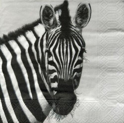 Mesa Vintage 4 Papel Servilletas Para Decoupage almuerzo Vintage feliz Zebra