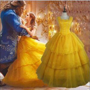 Damen-Prinzessin-Belle-Kostuem-Halloween-Die-Schoene-Und-Das-Biest-Cosplay-Kleid