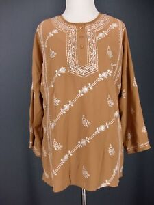 Embroidered-Tunic-CHADWICKS-Top-6-Beige-White-Sequin-Boho-Blouse-NEW-NWT