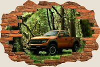 3D Hole in Wall Ford Raptor Forest View Wall Stickers Film Decal Mural 748