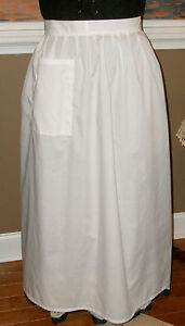 "CIVIL WAR DRESS VICTORIAN COLONIAL LADY'S ""IVORY"" 100% COTTON WRAP AROUND APRON"