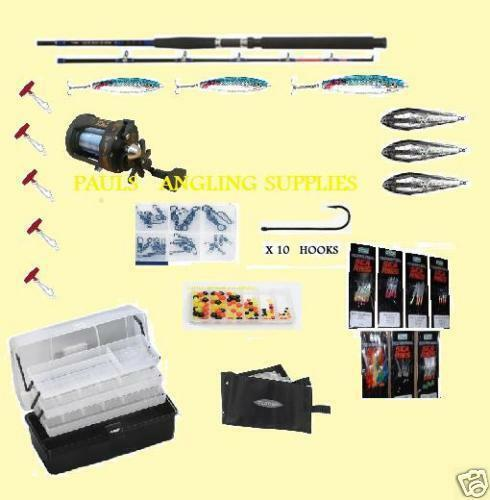 Mega Boat Fishing Kit Set EVO 7FT Rod Reel Tackle Box Lures Weights Hooks Etc