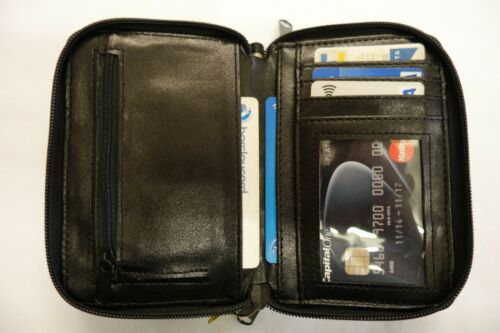 Pochette in pelle donna wallet grandi dimensioni con due Zippped Pocket Nero RFID