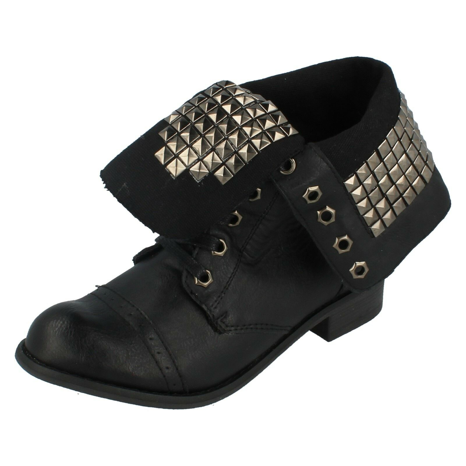 Ladies F5528 Black Studded Lace Up Ankle boot By Spot On £19.99