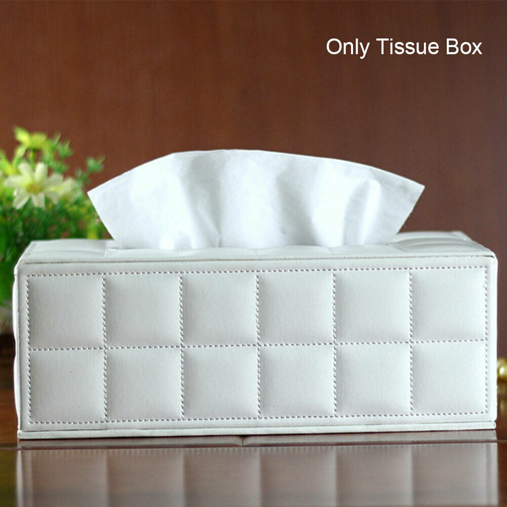 Tissue Box Bathroom Office Table Rectangle Napkin Case Holder Cover Faux Leather