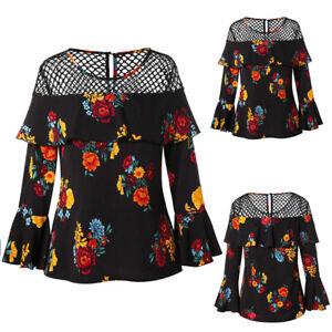 Women-Long-Sleeve-Flower-Print-Lace-Hollow-T-Shirts-Tops-Blouse-Plus-Size-Tops