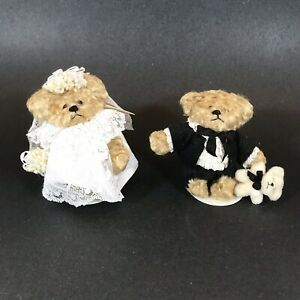 "Hearty 1990 Mini Bride Groom Wee B Bears Janie Mcculub Artist Signed Tags Stands 3.5"" Removing Obstruction Dolls & Bears"