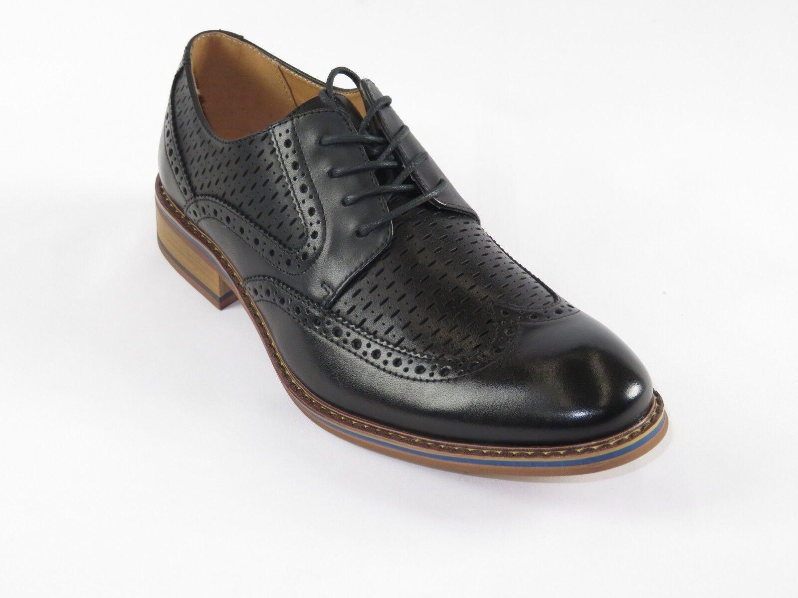 con il 60% di sconto Mens Mens Mens La Milano Leather scarpe Oxford Classic Wing Tip Business Dress A11642 nero  incentivi promozionali