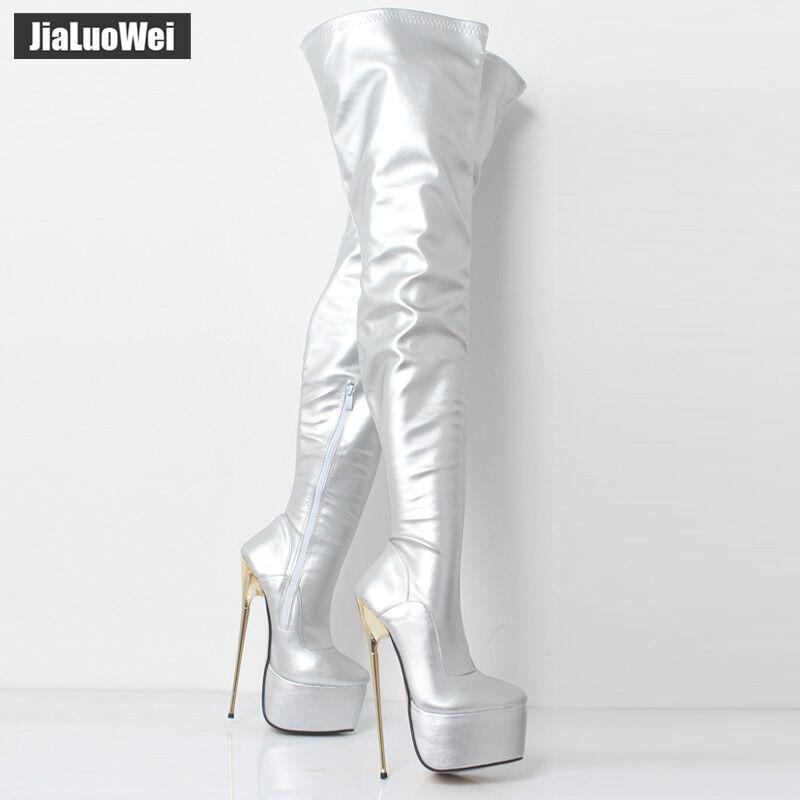Angepasst Damen 22cm Lackleder Overkneestiefel High Heels Plateau Lackleder 22cm Dance Schuh 9ac64b